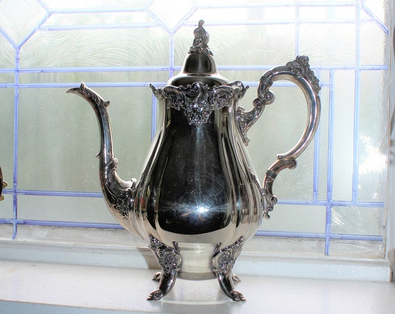 Vintage Silverplate Footed Teapot Wallace Baroque