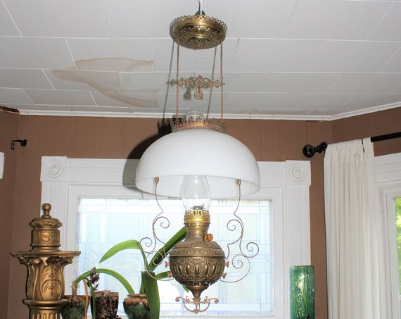 Antique Hanging Parlor Oil Lamp Early 1900s Country Victorian Decor