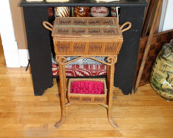Antique Victorian Wicker Sewing Basket Stand