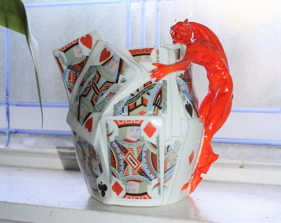 Antique Royal Bayreuth Pitcher Devil and Playing Cards