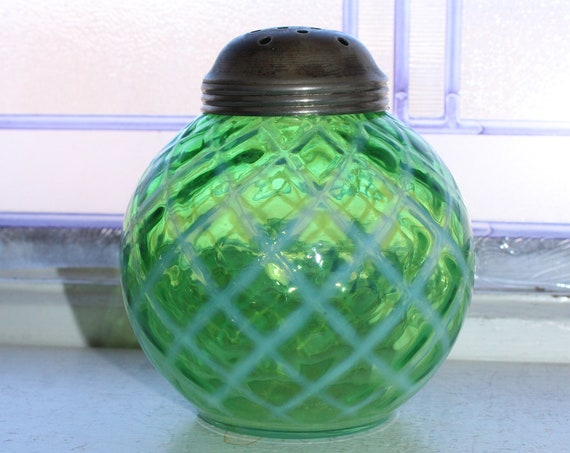 Large Antique Opalescent Green Lattice Glass Muffineer Sugar Shaker