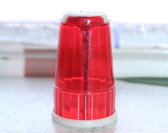 Red Plastic Salt and Pepper Shakers For Traveling 1960s