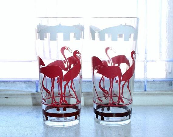 2 Vintage 1950s Hazel Atlas Glass Tumblers with Pink Flamingos