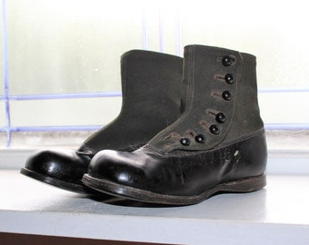 Antique Victorian Children's Shoes Black High Top with Black Buttons