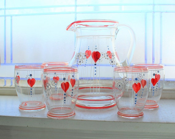 Red Hearts Glass Pitcher and 5 Tumblers Vintage Mid Century 1950s