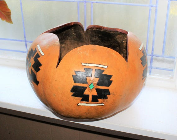 Large Hand Painted Gourd Bowl Vintage Southwestern Decor