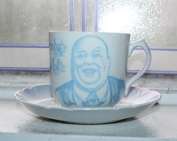 Antique Oversized Funny Coffee Cup & Saucer Leuchtenburg Germany