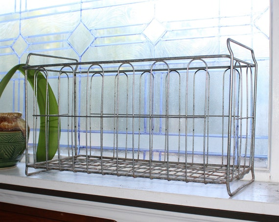 Large Vintage Footed Wire Basket Rustic Window Box or Storage