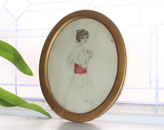 Antique Oval Framed Drawing Victorian Woman by Grace Funderhide