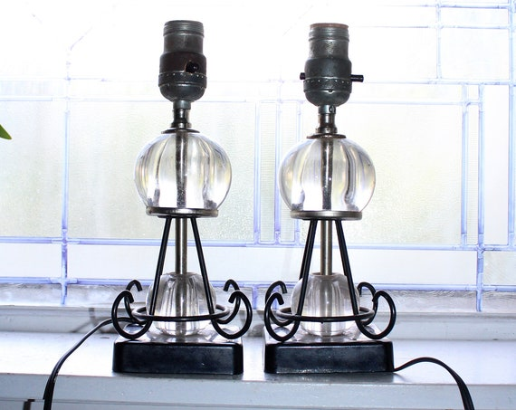Mid Century Accent Lamp Pair Glass Orbs and Ornate Black Metal 1950s
