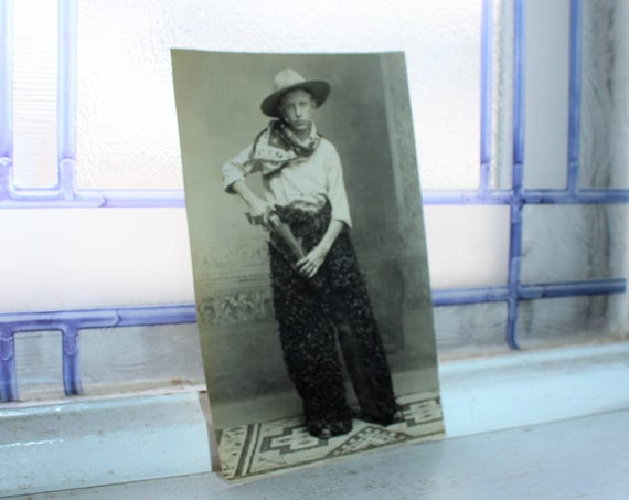 Antique Postcard Cowboy RPPC Unused