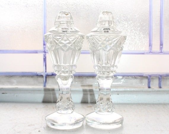 Large Vintage Crystal Salt and Pepper Shakers