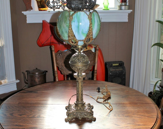 Antique Slag Glass Lamp Verdigris Bronze Green Glass 1900s
