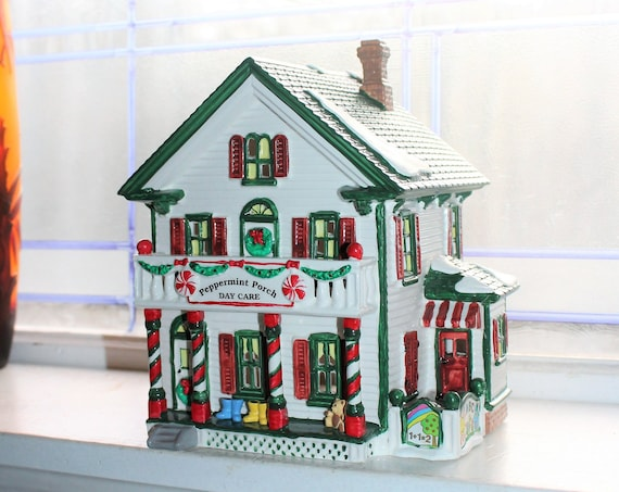 Dept 56 Snow Village 1995 Peppermint Porch Day Care with Box 5485-2