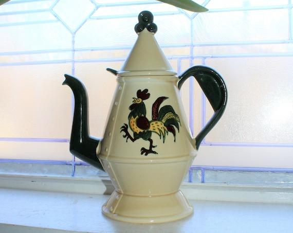 Metlox Poppytrail Coffee Pot Vintage Rooster Pattern