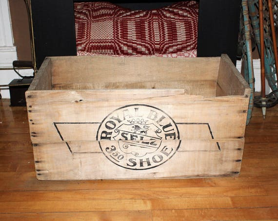 Antique Royal Blue Shoes Crate Wood Box Late 1800s