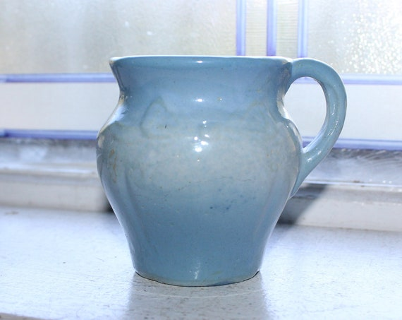 Antique Blue & White Shaving Mug 1800s Stoneware Ribbon Bow Decoration