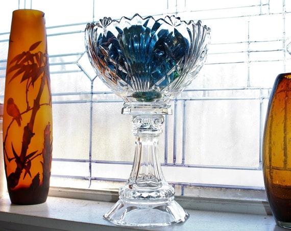 """Large Vintage Crystal Compote Column Pedestal Bowl 13 1/2"""""""