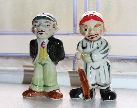 Vintage Salt and Pepper Shakers Baseball Player and Umpire
