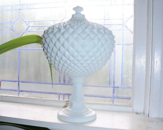 "Huge 14"" Vintage Westmoreland Milk Glass Grandfather Sawtooth Compote"