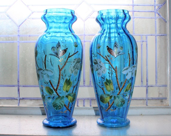 Large Blue Glass Victorian Vases Pair Hand Painted Butterflies Flowers
