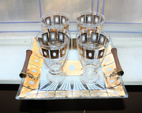 4 Mid Century Fred Press Beer Glasses with Teak Handled Tray
