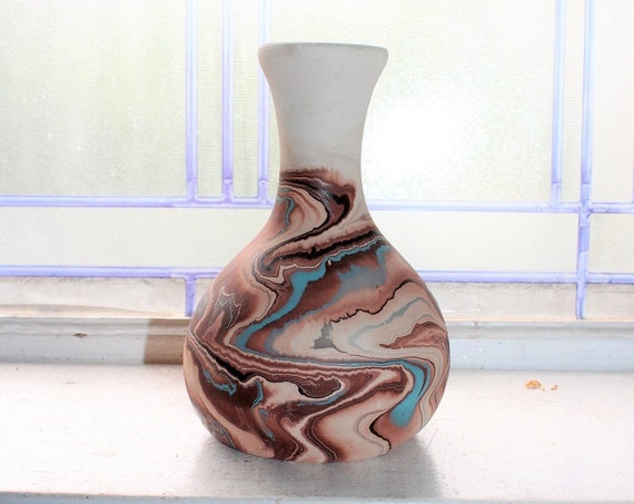 Vintage Nemadji Pottery Vase 6.5 Inch Swirl Pottery Southwestern Decor