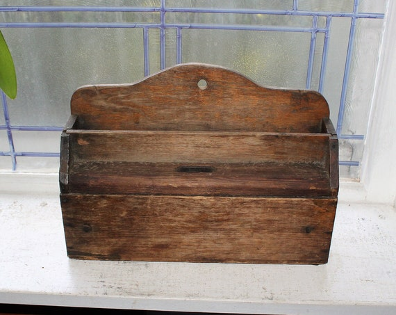 Antique Wooden Wall Box with Built In Coin Saver Bank