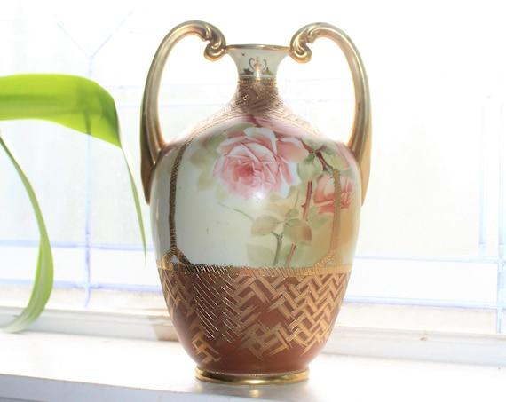 Large Antique Nippon Double Handled Vase Pink Flowers & Gilt Trim