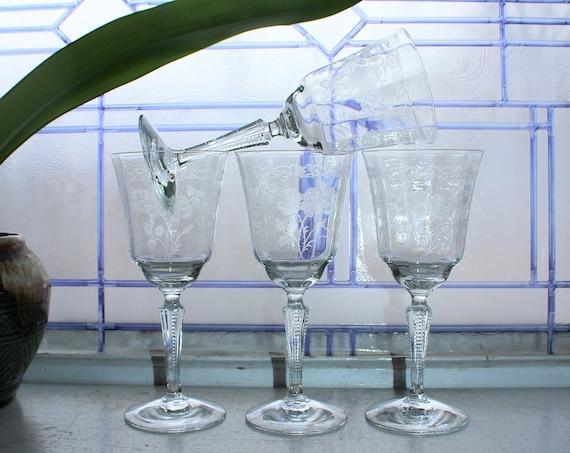 4 Fostoria Midnight Rose Wine or Water Glasses Vintage 1950s Stemware