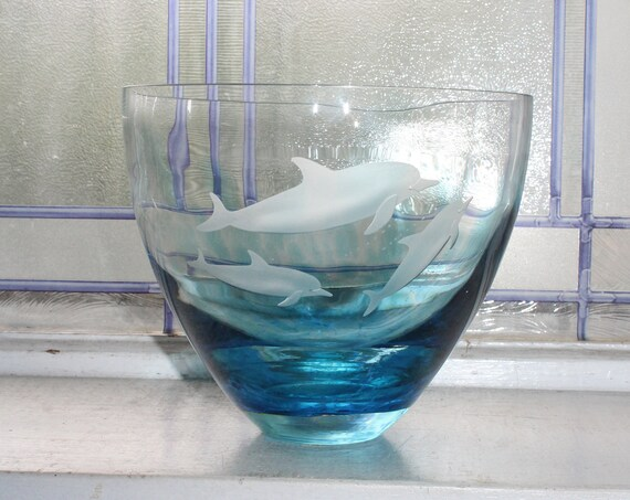Vintage Lenox Blue Crystal Dolphins Bowl The Ocean Wonderland