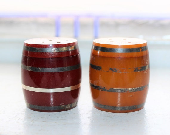 Vintage Bakelite Barrel Salt and Pepper Shakers 1920s