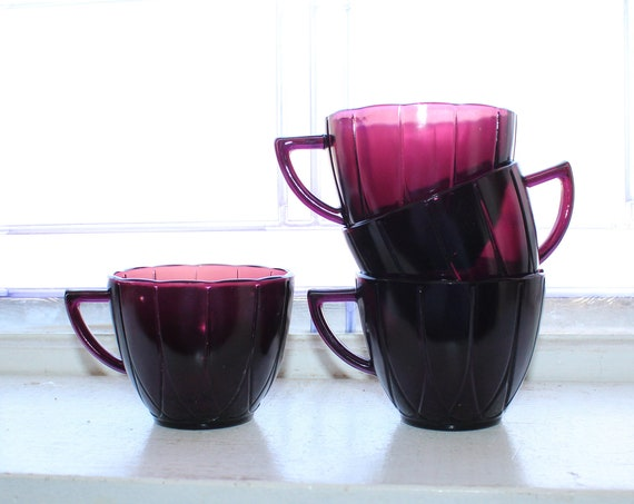 4 Amethyst Purple Depression Glass Coffee Cups Hairpin Newport 30s