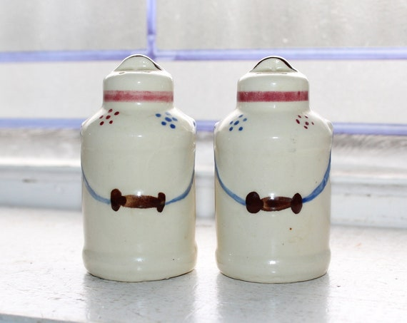 Vintage Salt and Pepper Shakers Shawnee Pottery Milk Cans
