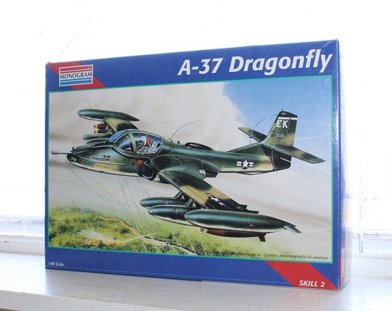 Vintage Model Airplane Monogram A-37 Dragonfly