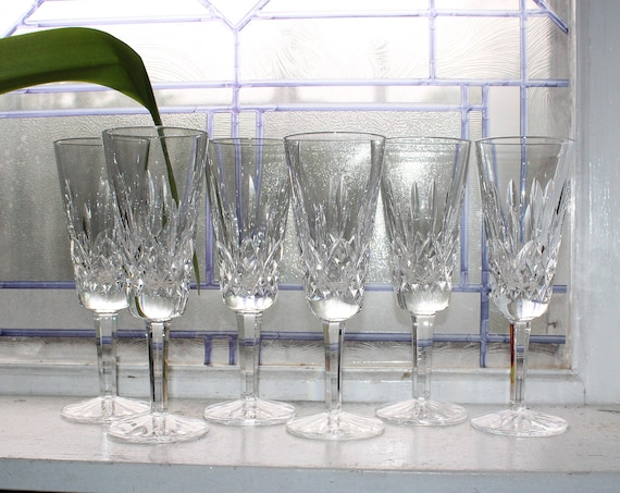 """6 Waterford Crystal Lismore Champagne Flutes Glasses 7 1/4"""" Stemware"""