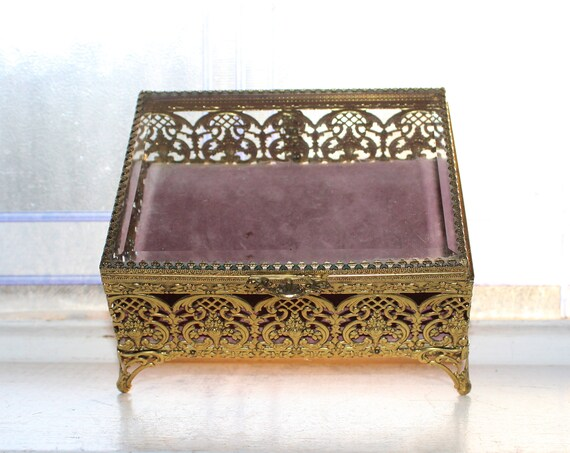 Large Vintage Jewelry Casket Filigree Ormolu Footed Box Beveled Glass