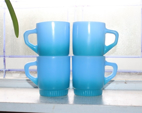 4 Fire King Mugs Retro Blue Ombre D Handle Stacking Vintage 1960s