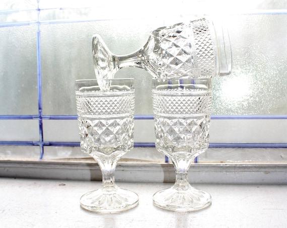 3 Vintage Wine Glasses Wexford Anchor Hocking Pressed Glass Stemware