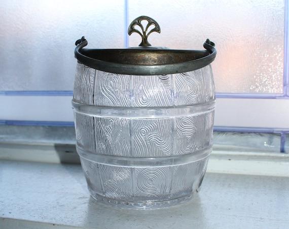 Antique Glass Biscuit Barrel Cookie Jar