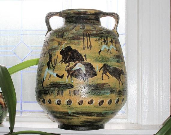 Huge West German Pottery Floor Vase Scheurich Montignac Fat Lava 1960s