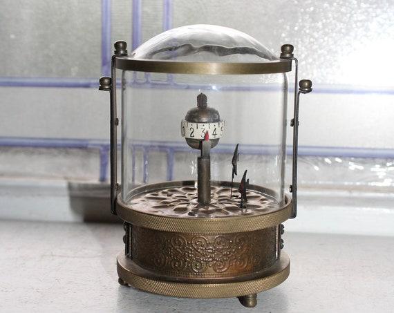 Antique Annular Glass Globe Clock Animated Mechanical Fish Brass Case
