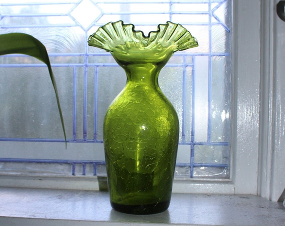 Large Mid Century Modern Green Crackle Glass Vase with Ruffled Rim