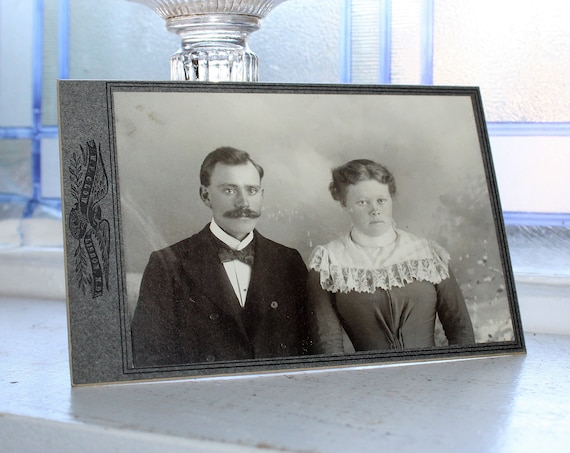 Antique Photograph Victorian Man and Woman 1800s Cabinet Card
