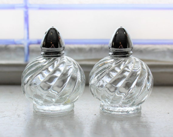 Vintage Salt and Pepper Shakers Round Irice Glass Globes Chrome Tops