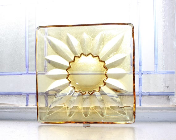 Amber Glass Square Candy Dish Vintage Mid Century