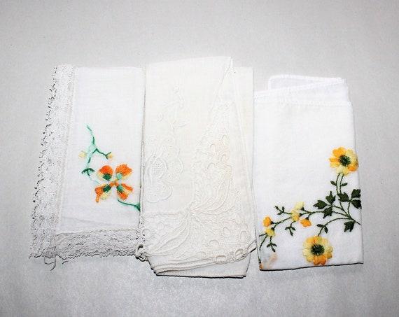 3 Vintage Ladies Handkerchiefs Mid Century White and Yellow