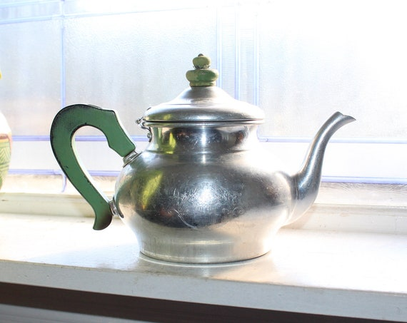 Vintage Country Teapot Green Wood Handle and Attached Strainer Mirro