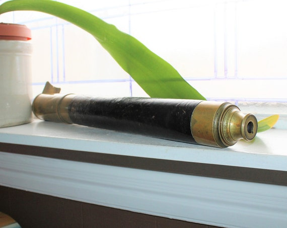 "Antique Leather and Brass Marine Telescope 1800s Spyglass 38.75"""