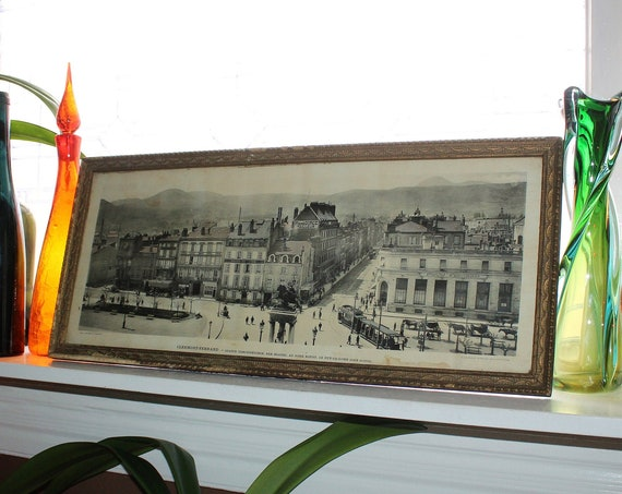 Antique Lithograph Framed Print Clermont Ferrand France